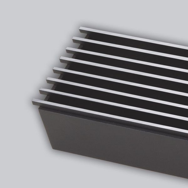 2032-OAST Open Air 9 - SubSteel 100 Luftgitter, 1.000 x 100 mm, schwarz mit Edelstahlfront-1