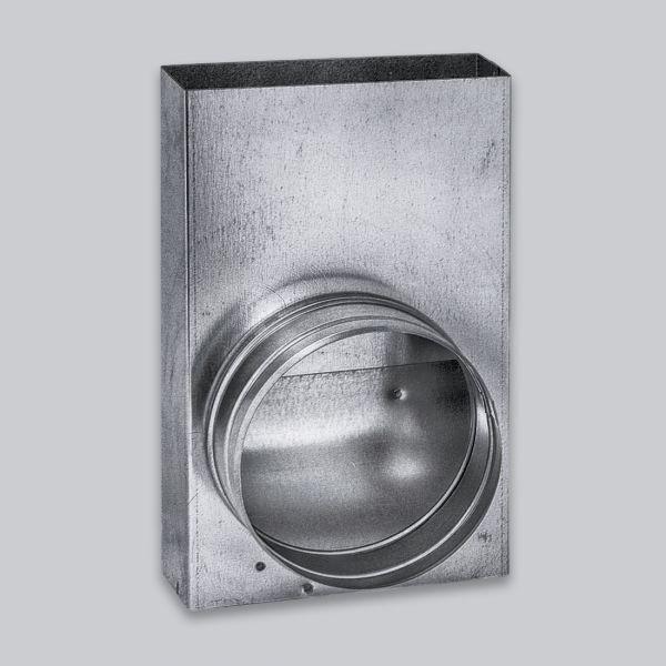 3624-FKU Flachkanal Übergang von 250 x 50 mm in 90° auf Ø 100 mm