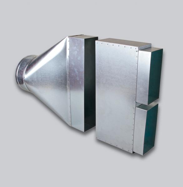3380-FKAA Flachkanal Sammelkasten 2 x 200 x 90 mm auf Ø 200 mm, asymmetrisch-1