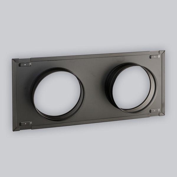 2290-UCSB UnderCover Stutzenblech 440 x 220 mm, mit 2 Stutzen Ø 150 mm, schwarz-1