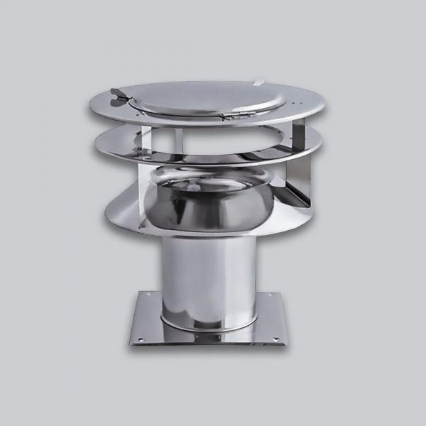 6252-DIF Schornsteinaufsatz Diffuser 1 mit Bodenplatte, Edelstahl, Ø 200 mm