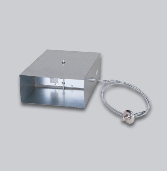 3530-FKAK Flachkanal Absperrklappe mit Silikondichtung, Biegewelle und Edelstahlknopf, 150 x 50 mm-1