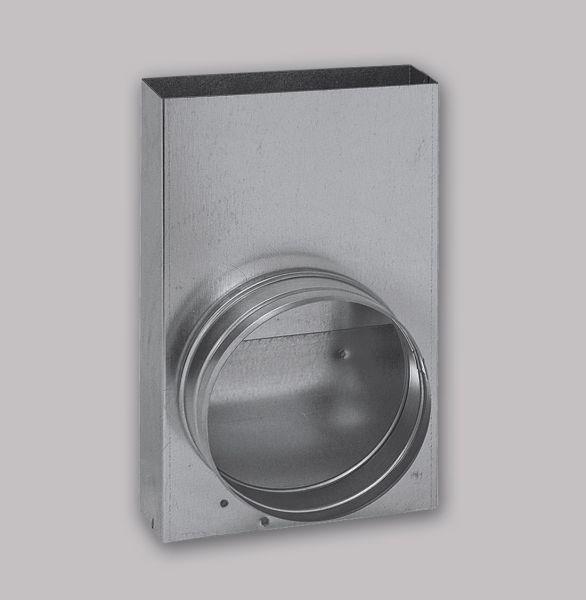 3612-FKU Flachkanal Übergang von 150 x 50 mm in 90° auf Ø 150 mm-1