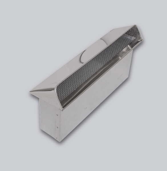 3500-FKAL Flachkanal Außenluft-Anschluss mit Insektenschutzgitter, Abdeckung Edelstahl, 150 x 50 mm-1