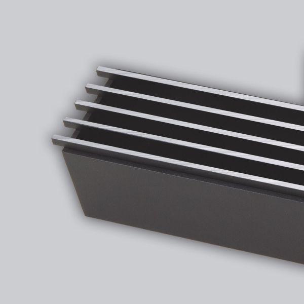 2067-OASTS Open Air 10 - SubSteel Small 100 Luftgitter, 1000 x 60 mm, schwarz mit Edelstahlfront-1