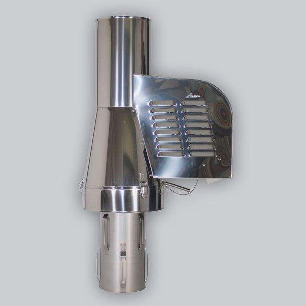 6020-SRV-3 Rauchsauger Modell ›Rund‹ zum Einstecken Ø 200 mm, Edelstahl, inkl. Erweiterung von Ø 200 mm auf Ø 300 mm, mit verlängertem Einschub 330 mm-1