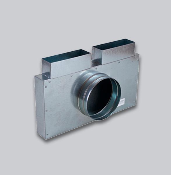3210-FKSK Flachkanal Sammelkasten 200 x 90 mm, zwei Eingänge und ein 90° Ausgang Ø 150 mm-1