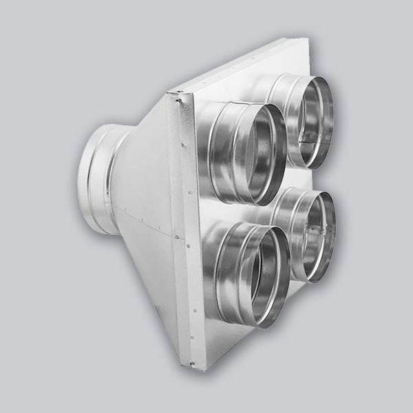 4692-LVB Luftverteilerbox 1 auf 4 Ø 125 mm und 4 x Ø 125 mm-1